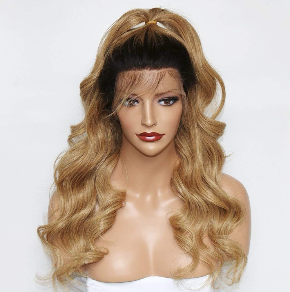 Eversilky Honey Blonde Human Hair 360 Wigs Ombre Lace Front Wig 1B 27 360 Lace Frontal