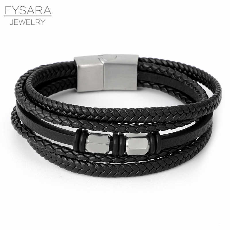 FYSARA Multi-layer Genuine Leather Rope Bracelets Braided Stainless Steel Wristband Magnet Clasps Men Bracelets Punk Jewelry