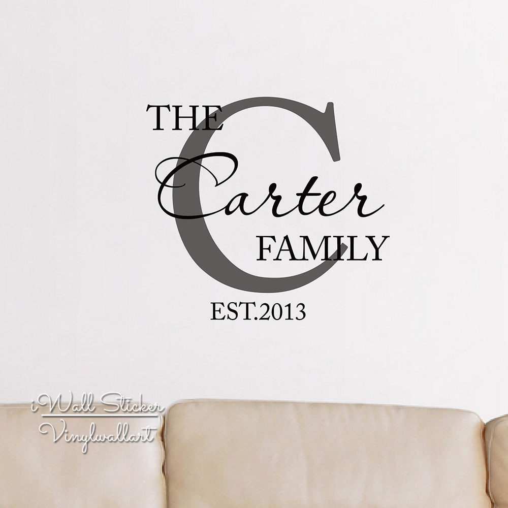 Family Name Wall Sticker Custom Family Name Wall Decal - Custom cut vinyl wall decals