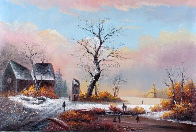livraison gratuite d coration murale peinture hiver paysage peinture l 39 huile toile imprim e. Black Bedroom Furniture Sets. Home Design Ideas