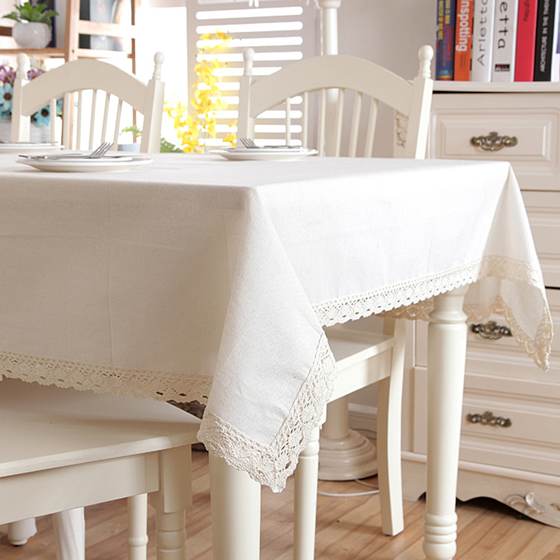 Christmas Linen Cotton Thicken Solid Tablecloth White Lace Hem