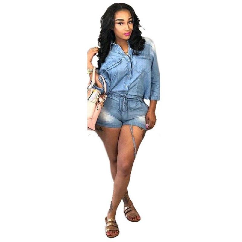 Denim Jumpsuit Women S-3XL Women Jeans Turn Down Collar 3/4 Sleeve Shorts Rompers Summer Street Wear Casual Playsuits Bodysuit