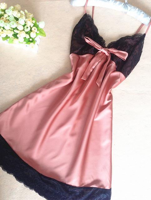 Silk Satin Nightgown Sleeveless Sleepwear