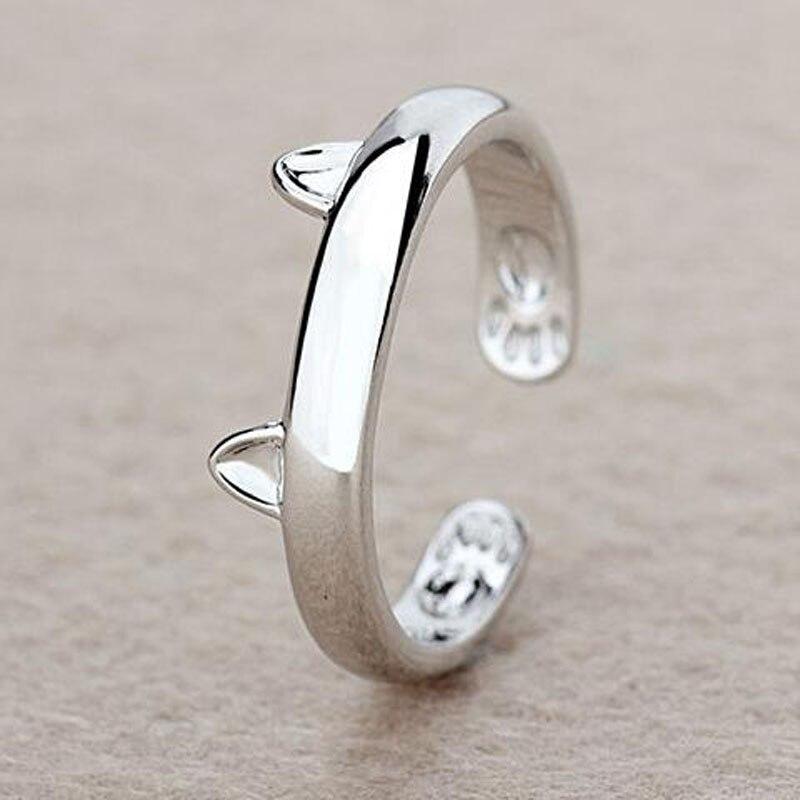 Купить на aliexpress Посеребренные с изображением кота с кольцом дизайн милые модные ювелирные изделия кольцо для кошки для женщин и девочек Подарки Регулируем...