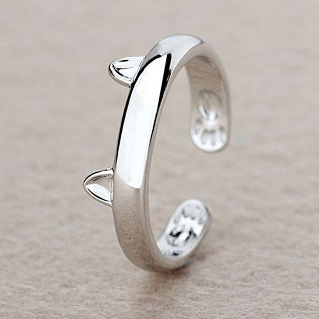 Silver Plated Cat Ear Ring Design Cute Fashion Jewelry Cat Ring For Women and Gi