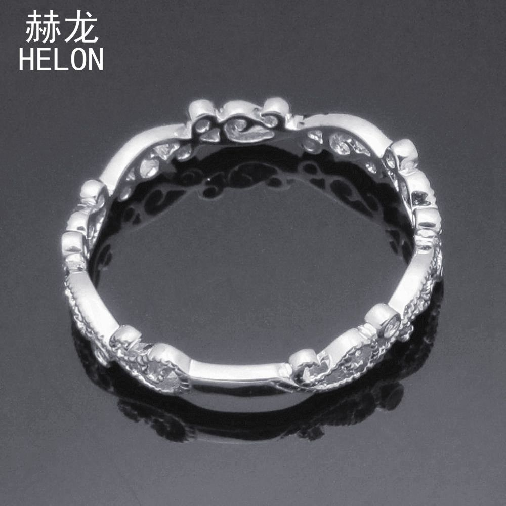Real Natural Diamonds Engagement Wedding Ring 925 Sterling Silver Vintage Antique Art Deco Style Womens Ring Fine Jewelry