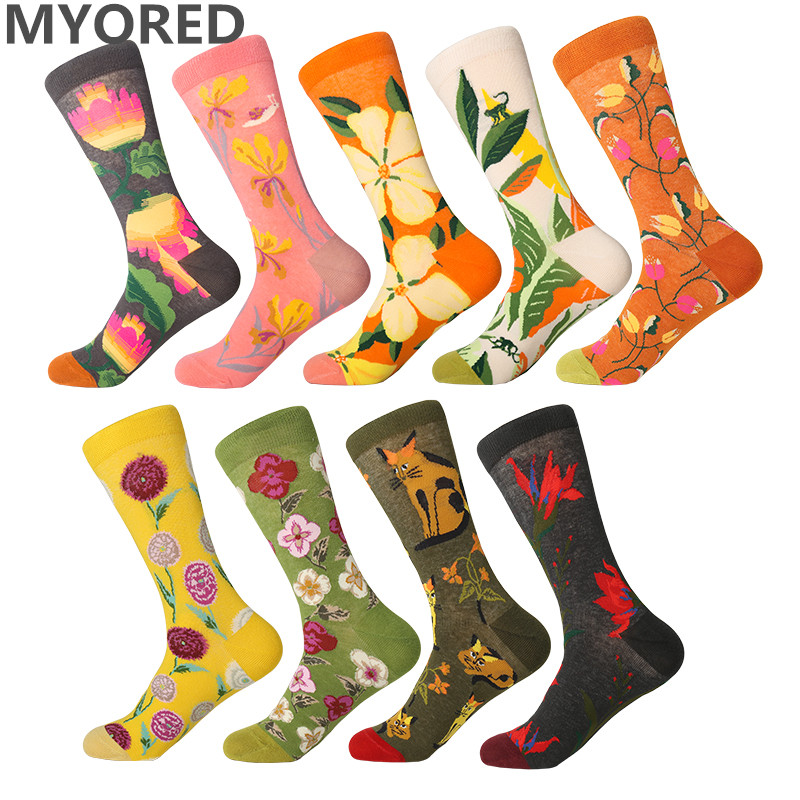 MYORED 1 Pair Drop Shipping Women Socks Christmas Gift Short Socks Colorful Flower Pattern Harajuku Creative Funny Gift Socks