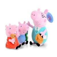 19 30 CM Original Peppa Pig George Dad Mom Family Set Pelucia Stuffed Dolls Plush Toys Children Birthday Gifts