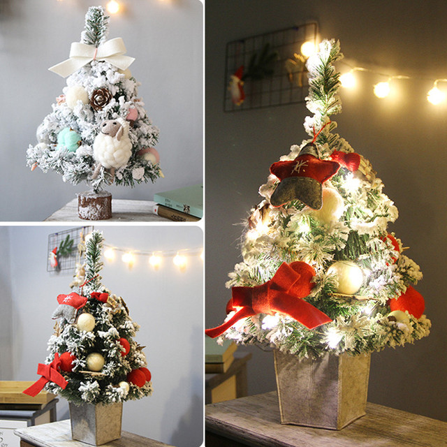2018 New DIY Artificial Flocking Christmas Tree LED Multicolor Lights  Holiday Xmas Window Christmas Decorations For Home #NE1009 - 2018 New DIY Artificial Flocking Christmas Tree LED Multicolor