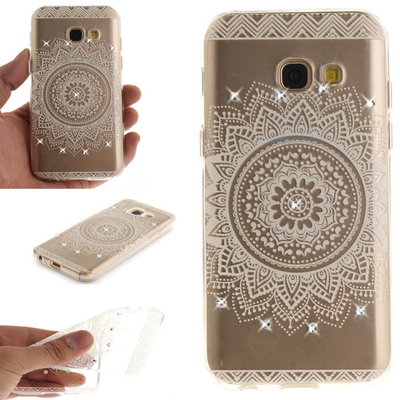 Rhinestone Case For Samsung Galaxy A5 2017 Case IMD TPU Soft Back Covers A520 A520F A5200 5.2 inch Phone Cover Shield Hood White