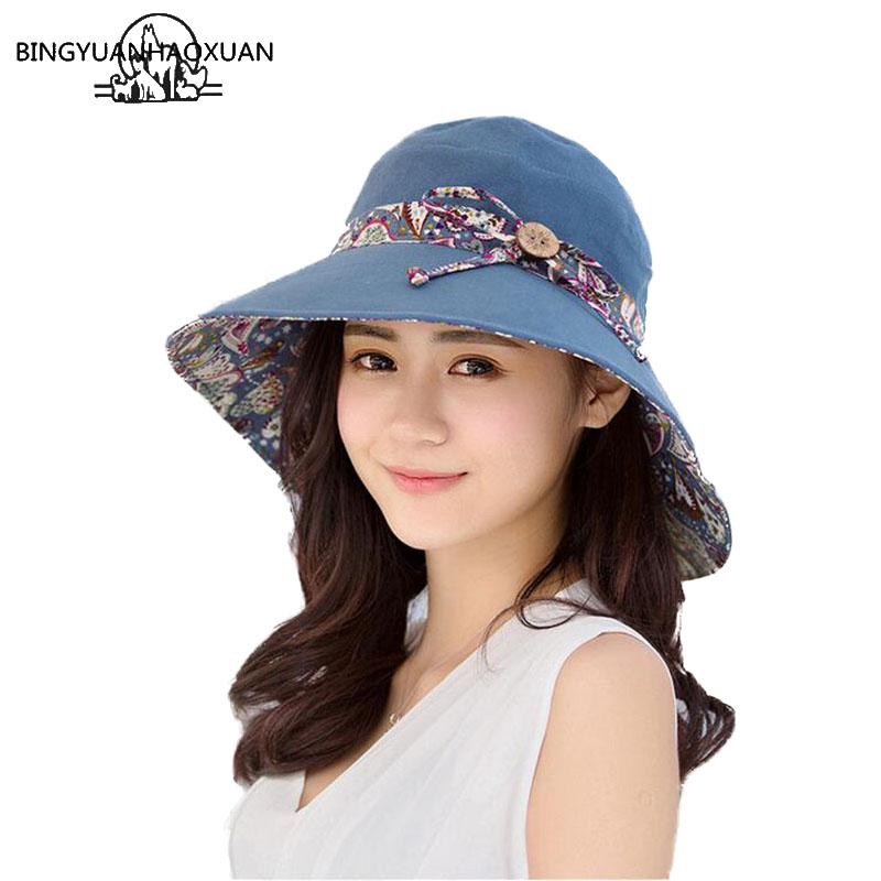 BINGYUANHAOXUANHats For Women Wide Wide Sun Sombrero Hombre Uv Beach Hat With Big Bow Foldable Style Fashion Women Sunglass Hat