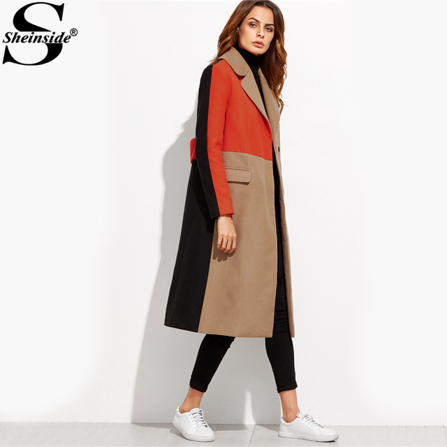Sheinside Patchwork Double Breasted Coats Women Camel Long Sleeve Color Block Casual Long Outer Winter Work Ladies Coat 2