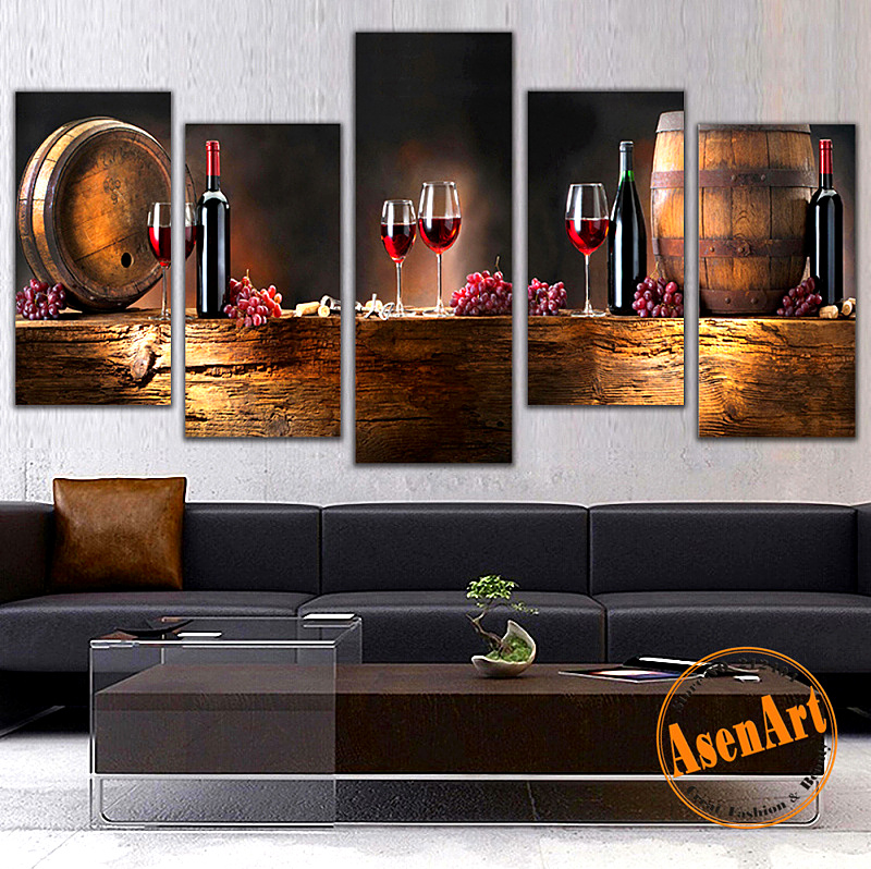 Modern 5pcs Canvas Wall Paintings Fruit Grape Red Wine