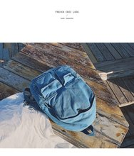 Oriental Element Fashion Ulzzang Denim Blue Casual Backpack