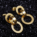 Wholesale Price Stainless Steel Three Rings Earrings Never Fade Gold Plated Greek Key Stud Earrings For Women