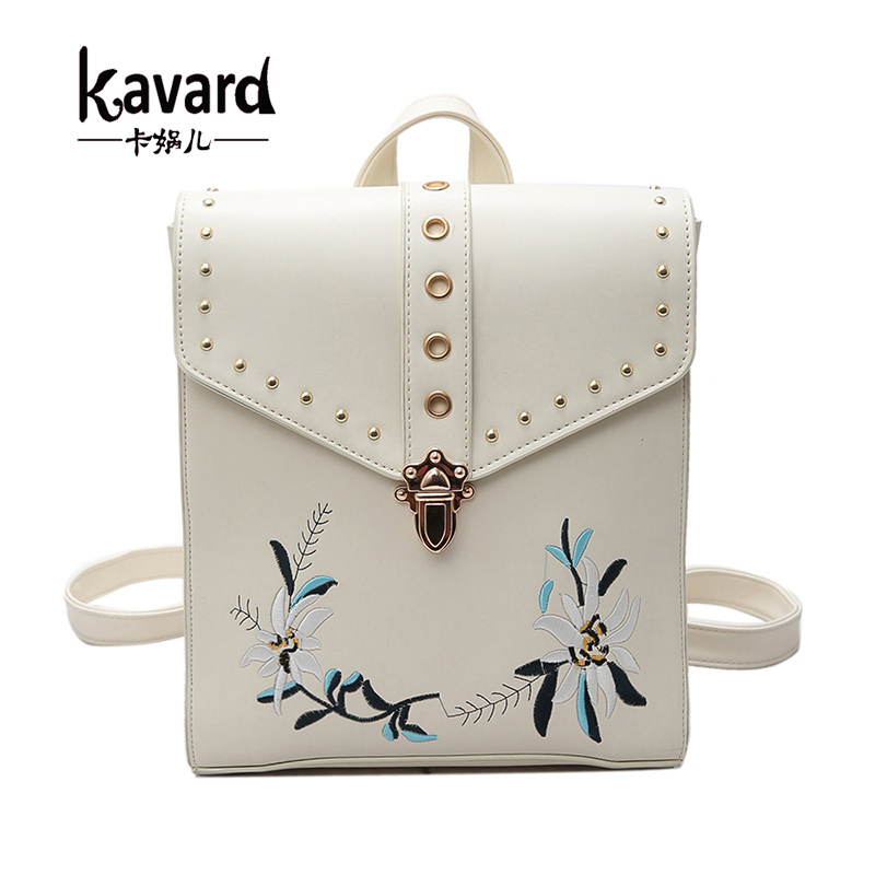 black luxury brand bagpack back bag pack School Bag For Teenagers Flower Embroidery kavard leather backpack