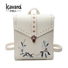 Черный люксовый бренд bagpack back чемоданчик школьные сумки для подростков цветок вышивка kavard кожа рюкзак женщины mochilas mujer