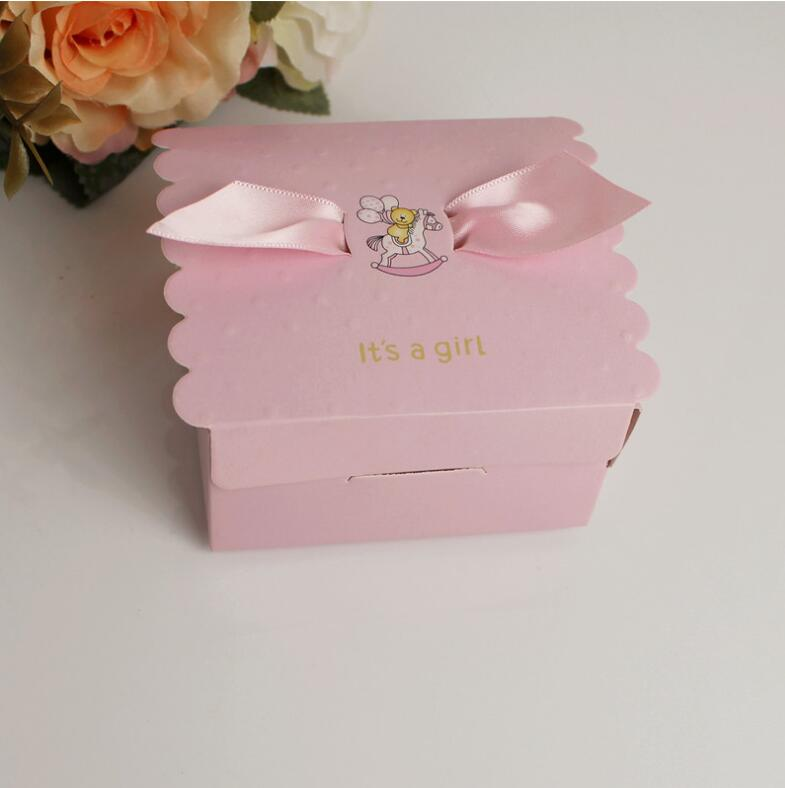12pc//lot Baby Shower Baby Candy Box Cute Babyshower Party Boxes Little Feet Printed Pink Blue Lovely Candy Small Gift Box NEW Blue Kangsanli