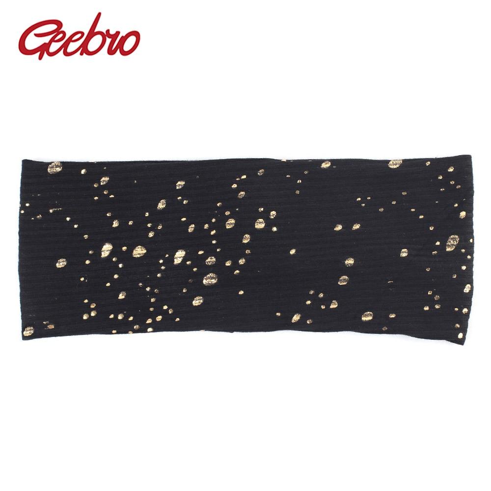 Bandeau de peinture à éclaboussures pour femmes automne couleur métallique bandeaux plats en coton côtelé pour Femme
