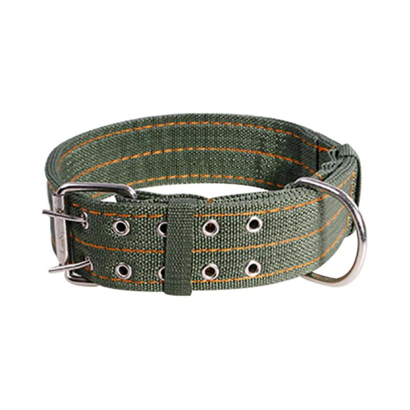 Army Green Canvas Pet Dog Collar for Large Dogs Collars Double Row Buckle Design Strong Strong Durable Dog Collars L/XL Size