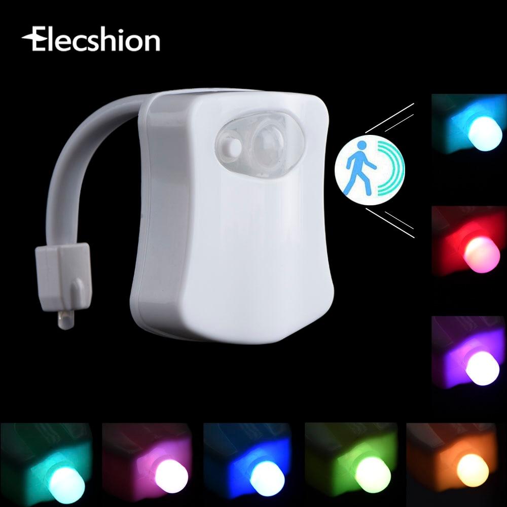 Elecshion привело Туалет ночь свет Авто человеческого движения Сенсор PIR Ванная комната Батарея 8 цветов RGB чаша проектор 3D Новинка лампы