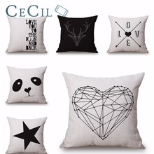 Cushion Cover Home Decor Cotton Linen Simple Black and White Geometric Letter Decorative Waist Pillows For Sofa