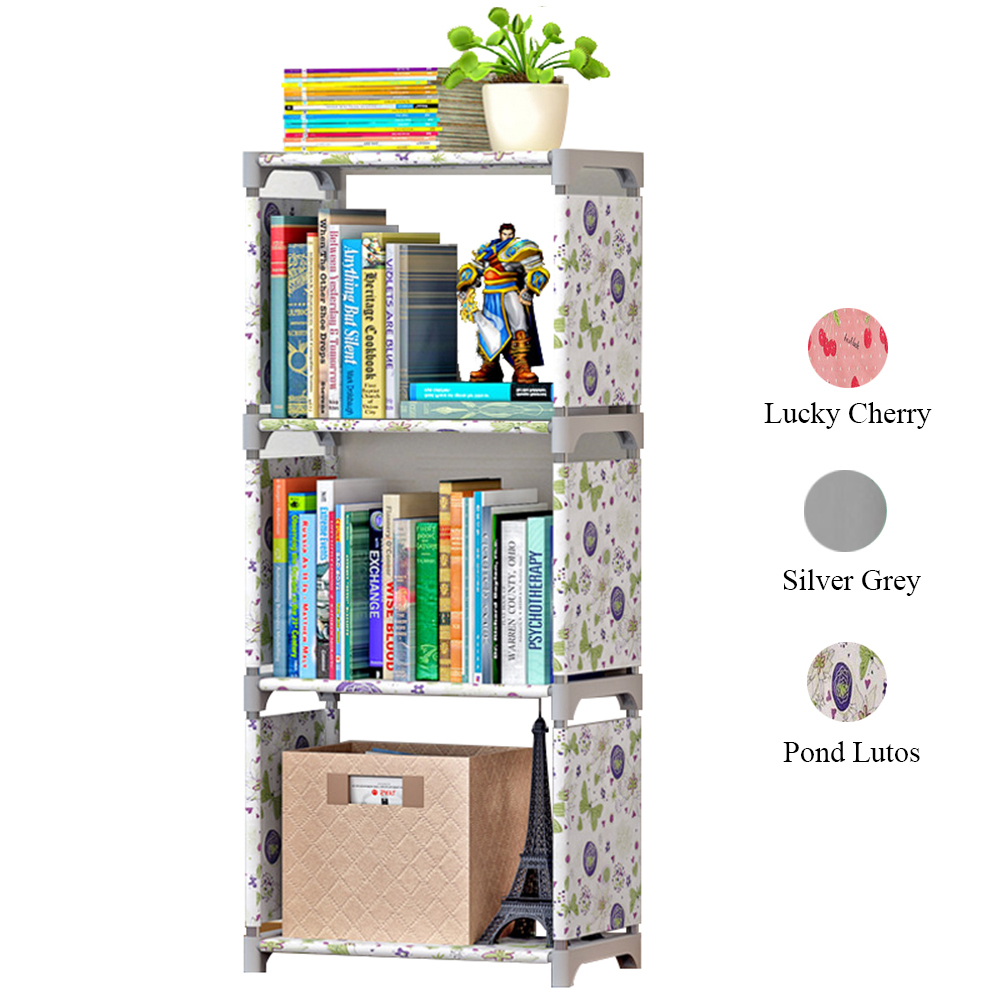 the latest 86198 179ae 4 Tiers Portable Simple Book Shelf Nonwoven Easy Install Shelves Bookcase  Kids Bookshelf Minimalist Modern DIY Home Decoration