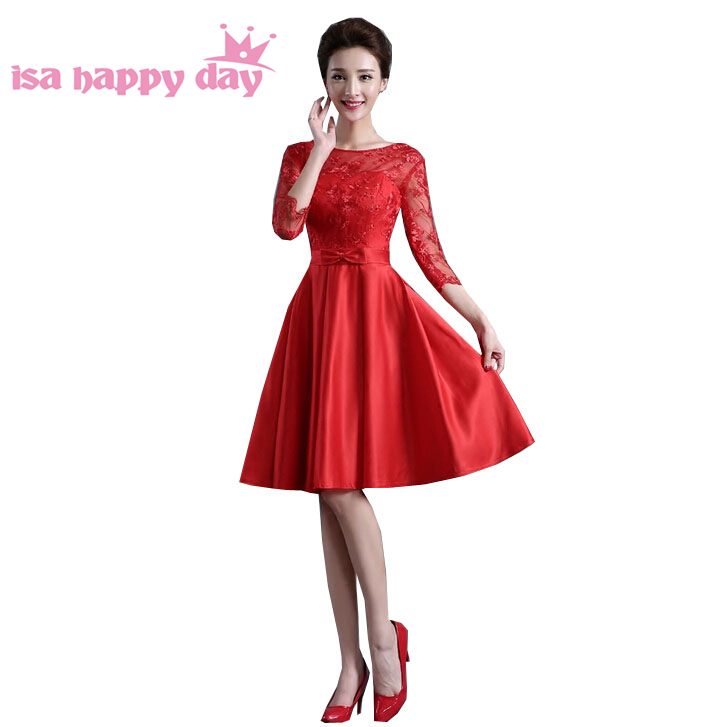 2017 short red lace satin ball gown prom sleeveness knee