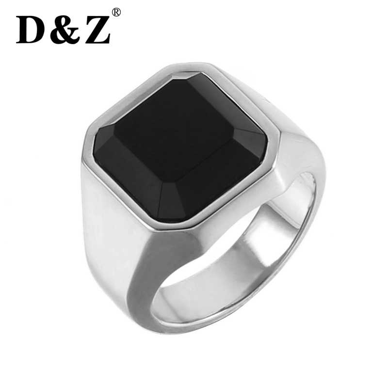 3914cd49d ... D&Z Men Ring Black Square Stone Carnelian Semi-Precious Stainless Steel  Gold Color Daily Male ...