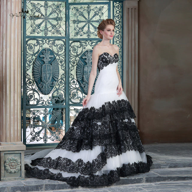HSW4 Lace Mermaid Wedding Dress White And Black Wedding Dress