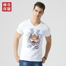 Fashion v neck t shirts for men summer new short sleeve T-shirt white with dragon and tiger print