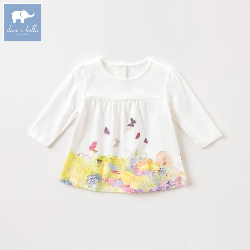 DBA8006 dave bella autumn baby girls clothes children long sleeve t-shirt infant toddler high quality tops kids lovely tees db2588 dave bella autumn unisex infant baby girls boys fashion t shirt kids cotton lovely tops children high quality tee