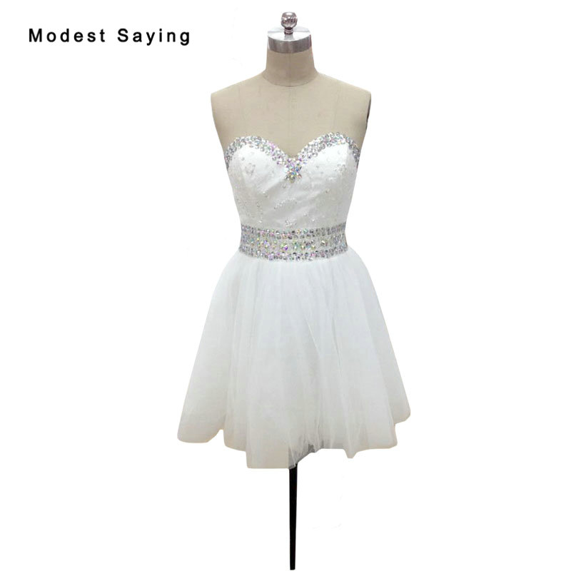 Sexy Ivory A-Line Sweetheart Lace   Cocktail     Dresses   2018 with Rhinestone Girls Short Homecoming Prom Gowns vestidos de coctel