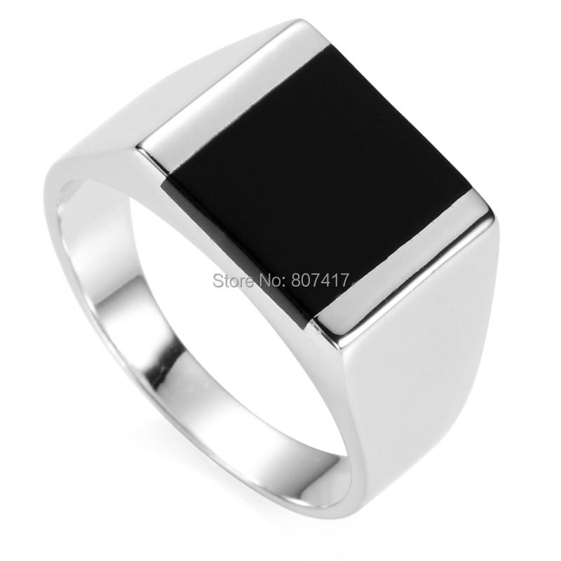 Еулонван црна смола 925 Стерлинг Силвер модни заручнички венчани венчани винтаге Прстенови за мушкарце С-3775 величина 7 8 9 10 11 12 13