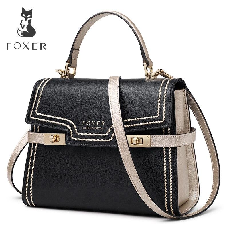 Bagaj ve Çantalar'ten Üstten Saplı Çanta'de FOXER Marka Gentlewoman Büyük Kapasiteli Deri postacı çantası Kadın lüks Şık omuz çantaları Lady sevgililer Günü Hediyesi'da  Grup 1