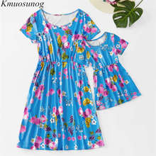 Mom Daughter Clothes 2019 Baby Girl Blue Print Short Sleeve Mini Dress Mother Daughter Dresses Family Matching Outfits C0486