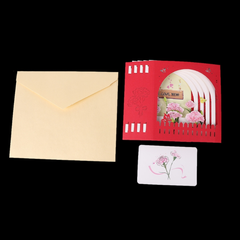 3D Pop Up I Love Mom Birthday Greeting Postcards Gift Cards Custom Laser Cut Blank Vintage Invitation Letters In Invitations From Home Garden On