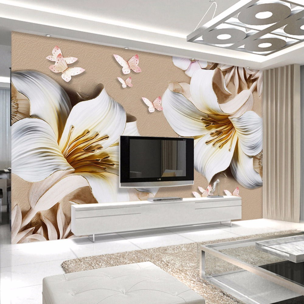 Custom mural wallpaper 3d stereo embossed lily living room for Custom mural wallpaper