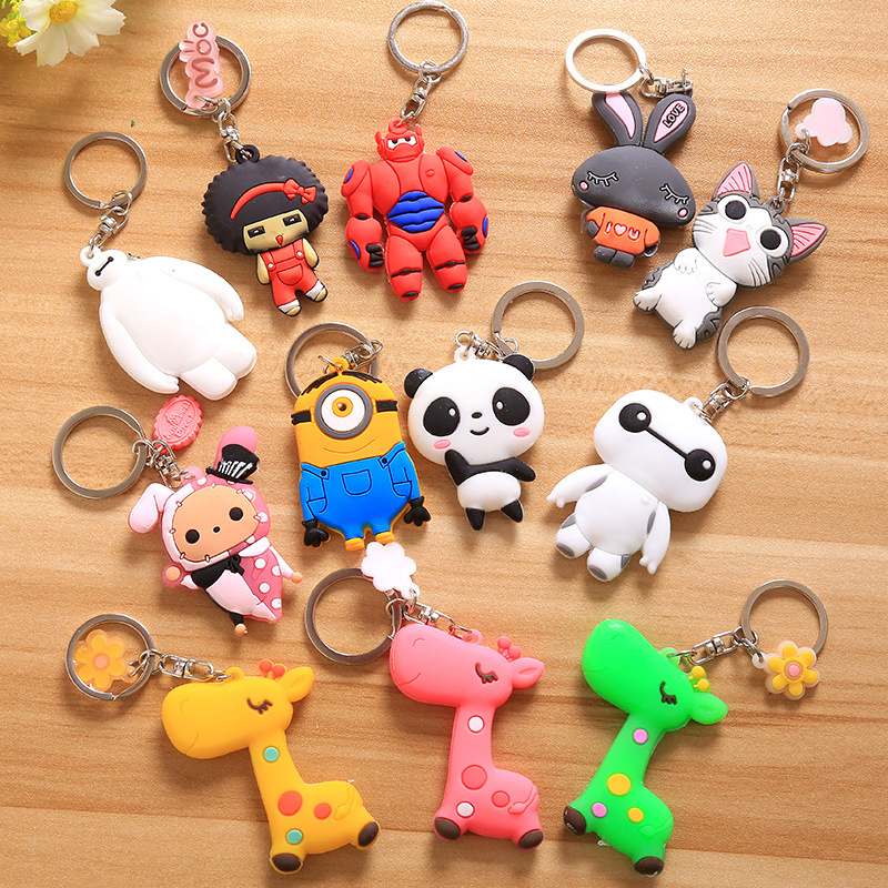 1PCS Big Hero 6 Baymax Anime Key <font><b>Mashimaro</b></font> Minions Panda Cute <font><b>Action</b></font> <font><b>Figure</b></font> <font><b>Toy</b></font> Pendant Keychain 9cm ASB14