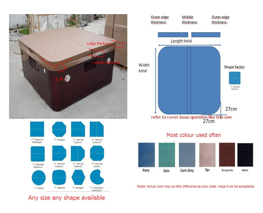 1940mmX1540mm 2 person hot tub spa cover leather skin , can do any other size other spa
