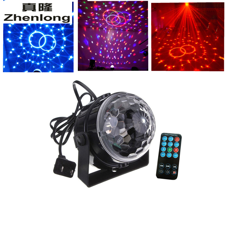 3W DJ Light RGB Color Changing Sound Actived +Remote Crystal Magic Disco Ball Led Stage Lights for KTV Xmas Wedding Party Light