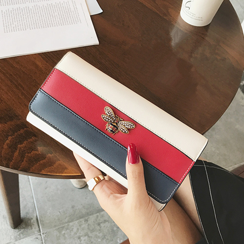 2018 Fashion Ladies Wallets Genuine Leather BEE Purses Women Wallets Clutch Patchwork Wallet Card Holder Cell Phone Pocket Purse top brand genuine leather wallets for men women large capacity zipper clutch purses cell phone passport card holders notecase