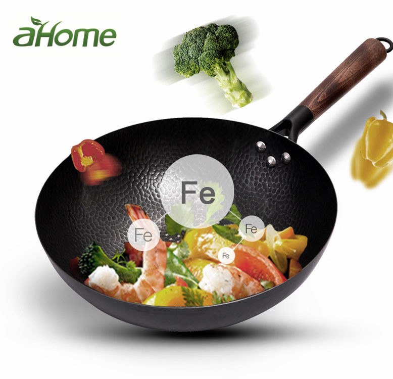 32 cm Non-Coating Iron Pot  cast iron pan General use for Gas and Induction Cooker Chinese Wok Cookware Pan Kitchen Tools