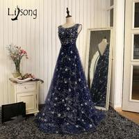 Luxury Rhinestone Dark Navy Blue Evening Dresses Suadi Arabia Beaded Long Evening Gowns Backelss Vestido Longo