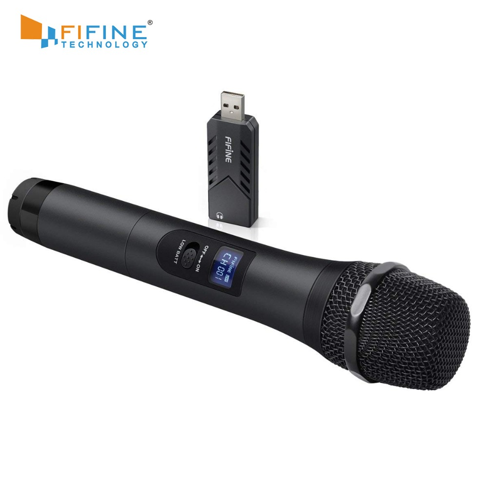 FIFINE Wireless USB Microphone UHF Handheld Dynamic Mic with USB Receiver Output to Laptop or PC