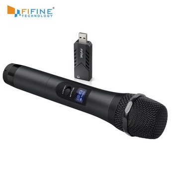 FIFINE Wireless USB Microphone UHF Handheld Dynamic Mic with USB Receiver Output to Laptop or PC for Teaching Meeting K026