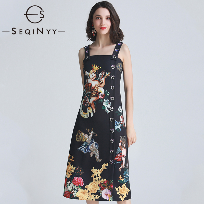 SEQINYY Vintage 2019 Summer New Fashion Design Strapless Buttons Crystal Angels Flowers Printed Dress Black Slim