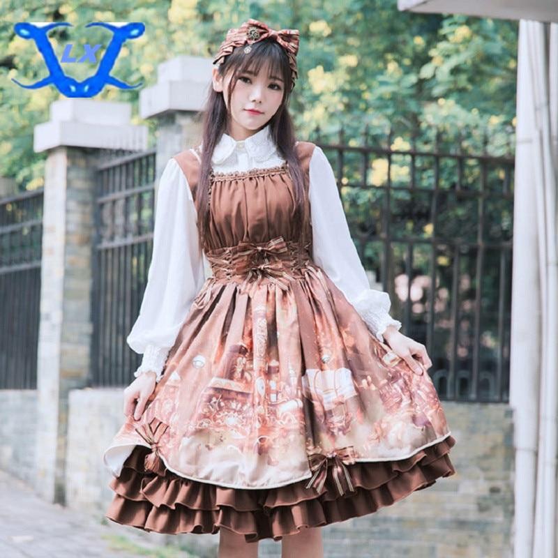 Spring New Women s Lolita Dress JSK Steam Castle Printed Dress Vintage Women Dress 0583