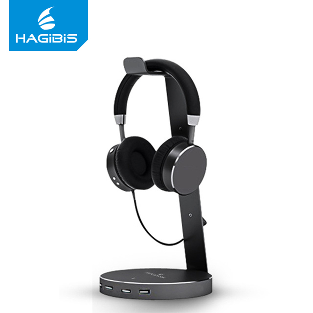 Hagibis USB 3.0 Earphone Hanger Headset Headphone Stand Holder With 4 Ports of 3.0 Usb Hub Display for Headphones Cable Storage Earphone Accessories