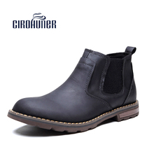 CIROHUNER Chelsea Boots Leather Winter Fashion Ankle Men's Boots Male Brand Black Ankle Boots Warm Quality Footwears